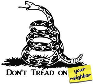 Graphic showing coiled snake captioned Don't tread on your neighbor - Catholic Libertarian