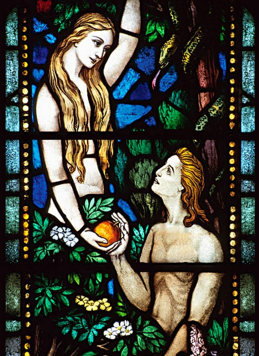 Eve giving an apple to Adam in the garden of Eden, Catholic Libertarian