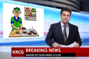 Graphic of TV broadcast with restaurant job offer